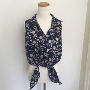 Vintage Batik Tie Front Blouse